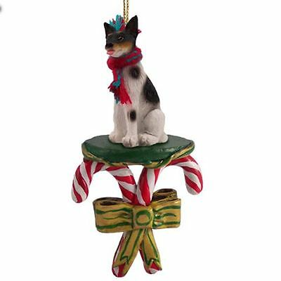 RAT TERRIER Dog Candy Cane Christmas Tree ORNAMENT
