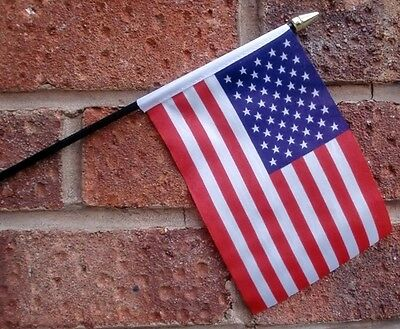 "USA HAND WAVING FLAG Small 6"" x 4"" with black pole U.S.A. American America"