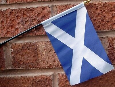 "SCOTLAND  ST ANDREW HAND WAVING FLAG Small 6"" x 4"" with black pole SALTIRE"