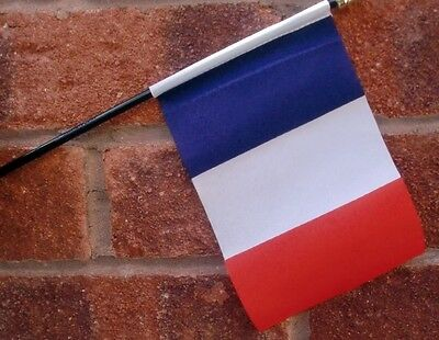 """FRANCE HAND WAVING FLAG Small 6"""" x 4"""" with black pole FRENCH PARIS FRANCAIS"""