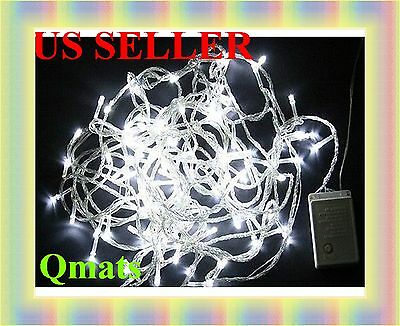 30FT (10M) LED Christmas Wedding Light  White Wire String 8 FUNCTION PARTY