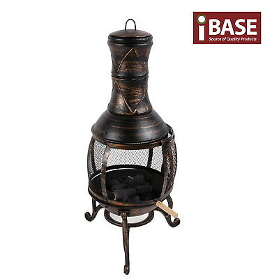Chiminea Chimney Cast Iron Wood Heater Patio Bbq Fire Place Garden Home Free