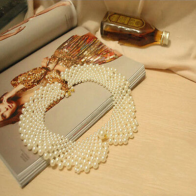 New Vintage Celeb Beaded / Crystal Bling Detachable peter pan collar necklace