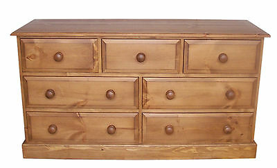 UK Hand Made Solid Pine BedroomTraditional Merchant Chest of 7 Drawers