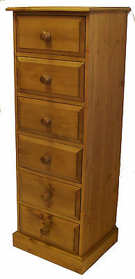 UK Hand Made Solid Pine Bedroom 6 Drawer Wellington / Narrow Chest of Drawers