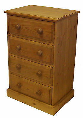 UK Hand Made Solid Pine Bedroom 4 Drawer Wellington / Narrow Chest of Drawers