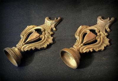 two stunning french antique solid bronze rail ends bed posts stairs