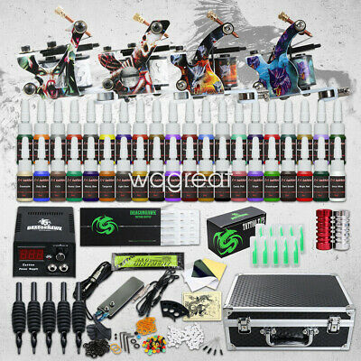 Complete Tattoo Kit 4 Machine Gun Power Supply 40 Color Ink Set Needles D176WD