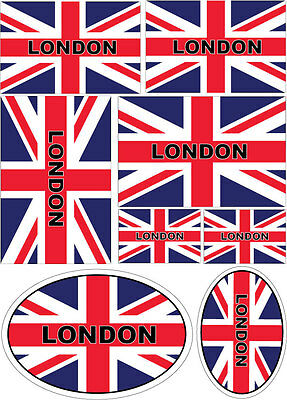 UNION JACK/GREAT BRITAIN FLAG MULTI PACK WITH COUNTY LONDON - Vinyl Stickers