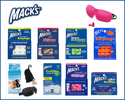 MACK'S Ear Plugs for Noise Swimming Headbands Aquablock Sleep Masks Ear Dryer