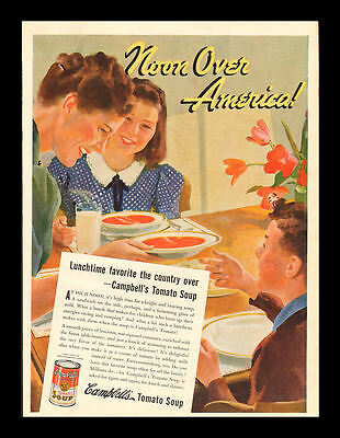"Original1939 ""campbell's Tomato Soup"" Noon Over America Lunch Time Art Print Ad"