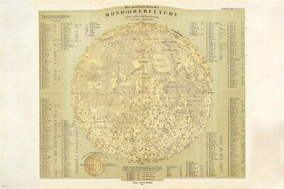 1873 MAP of the MOON in german POSTER educational DETAILED unique 24X36