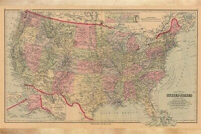 1884 MAP OF THE UNITED STATES poster educational HISTORIC colorful 24X36