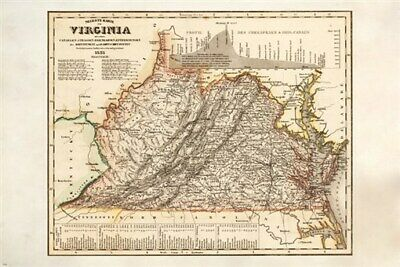 VINTAGE MAP OF VIRGINIA detailed colorful HISTORIC collector's item 24X36