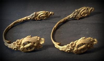 stunning antique french gilt ormolu bronze tie backs mounts large