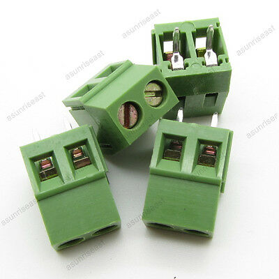 10×PCB Screw Terminal Block 2 Pole 5mm Pin Pitch for 24-12AWG Wire 300V 10A