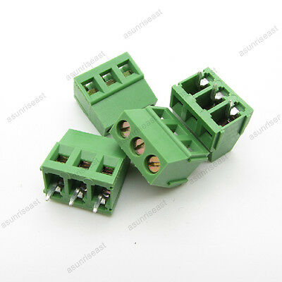 10 × PCB Screw Terminal Block 3 Pole 5mm Pin Pitch for 22-12AWG Wire 300V 10A