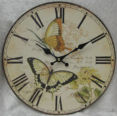 34cm French Provincial Paris Country Wall Clock Butterfly Butterflies Emblem