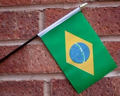 "BRAZIL HAND WAVING FLAG Small 6"" x 4"" with black pole BRAZILIAN South America"