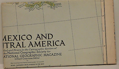 Vintage 1953 National Geographic Map of Mexico and Central America