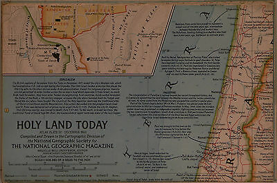Vintage 1963 National Geographic Map of Holy Lands Today