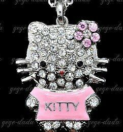 New crystal cute hello kitty necklace with 27'' chain. Pink, red or blue. Gift!!