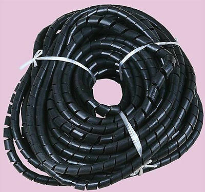 14mm 19.7FT (6M) Spiral Cable Wire Wrap Tube Computer Manage Cord Black