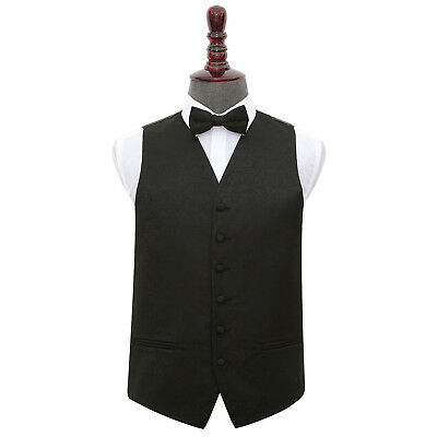 New Dqt Swirl Mens Wedding Waistcoat & Bow Tie Set - Black