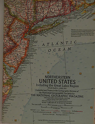Vintage 1959 National Geographic Map of Northeastern United States