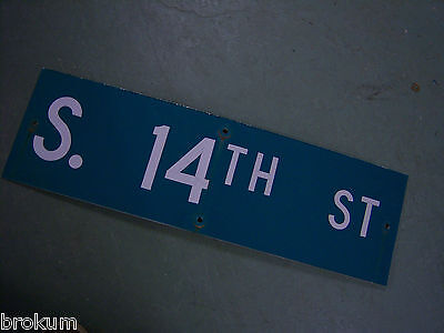 "Vintage ORIGINAL S. 14TH ST STREET SIGN WHITE ON GREEN BACKGROUND 30"" X 9"""