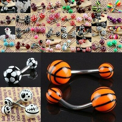 Lots UV Stainless Steel Round Bar Barbell Belly Piercing Navel Ring Body Jewelry