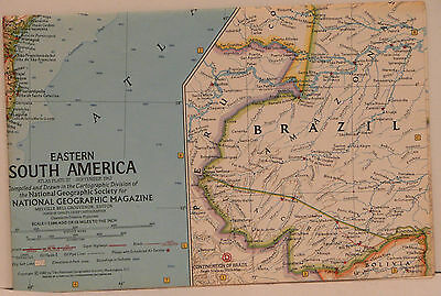 Vintage 1962 National Geographic Map of Eastern South America