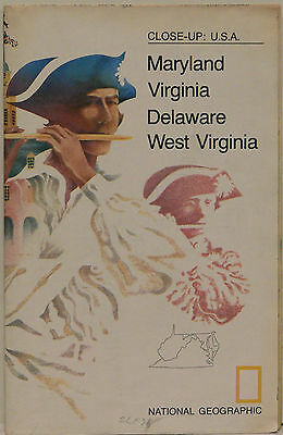 Vintage 1976 National Geographic Map of  Maryland Virginia Delaware & West Va