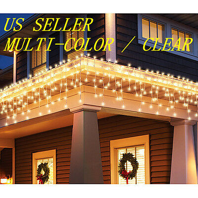 (Pick Color) Clear / Multi-Color 100Ct Icicle Christmas Lights White Wire 12Ft