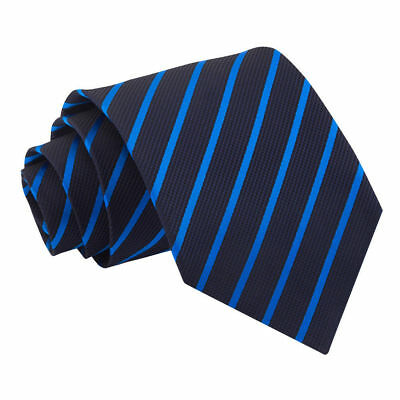 DQT Woven Single Stripe Navy Mid Blue Formal Casual Mens Classic Tie