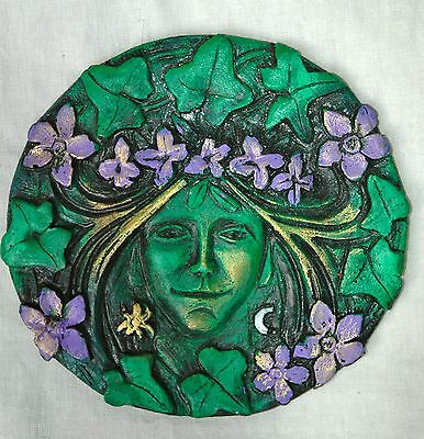 """goddess of spring   greenman """"green man""""  hedge  witch wall plaque"""