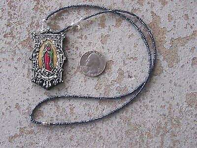 Black Beaded Virgin of Guadalupe Painted Resin Charm Necklace - Mexico