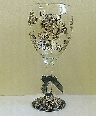 LEOPARD wine glass ANY AGE Hand painted PERSONALISED Birthday gift idea