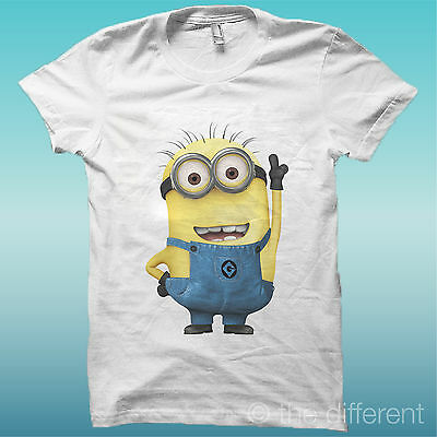 """T-Shirt """" Minions Cattivissimo Me """" Bianco The Happiness Is Have My T-Shirt New"""