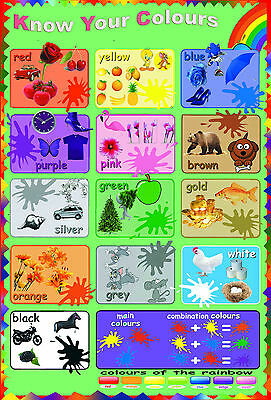 A2 huge laminated know / learn your colours color educational poster wall chart