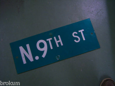 "Vintage ORIGINAL N. 9TH ST STREET SIGN 24"" X 9"" WHITE ON GREEN BACKGROUND"