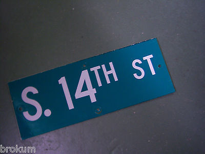 "Vintage ORIGINAL S. 14TH ST STREET SIGN WHITE ON GREEN BACKGROUND 24"" X 9"" • CAD $23.88"
