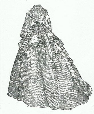 "1866 Dress pattern for antique French Fashion doll size 12-16 17-18 21-22"" #125"
