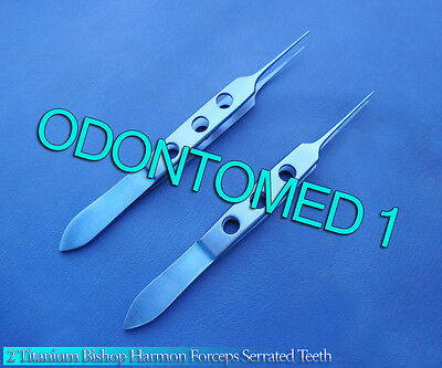 2 Bishop Harmon Forceps Serrated Teeth Titanium Surgical Instruments