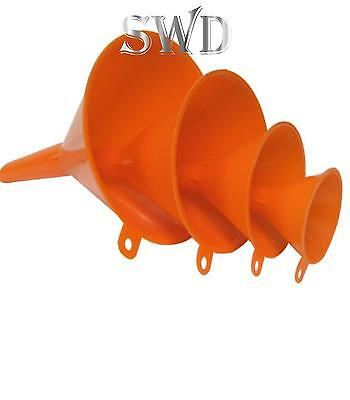 Funnel funal set PETROL DIESEL CAR MOTORBIKE 4pc plastic  garage liquid funnal