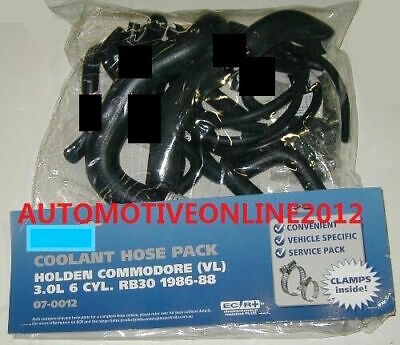 Gates Holden Commodore Vl Rb30 3.0L Turbo Radiator Coolant Hose Kit Inc Clamps