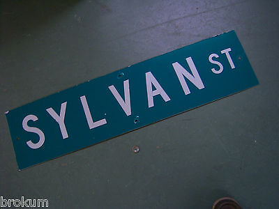 "Vintage ORIGINAL SYLVAN ST STREET SIGN 36"" X 9"" WHITE LETTERING ON GREEN"