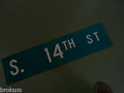 "Vintage ORIGINAL S. 14TH ST STREET SIGN 36"" X 9"" WHITE ON GREEN BACKGROUND"