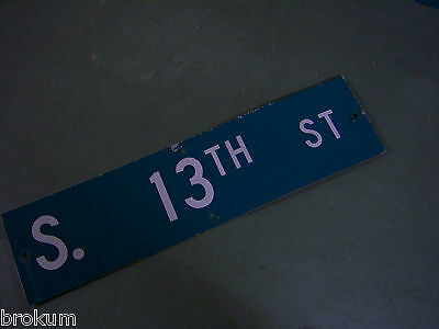 "Vintage ORIGINAL S. 13TH ST STREET SIGN 36"" X 9"" WHITE LETTERING ON GREEN"