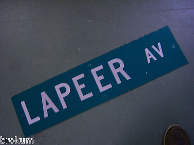 "Vintage ORIGINAL LAPEER AV STREET SIGN 36"" X 9"" WHITE LETTERING ON GREEN"